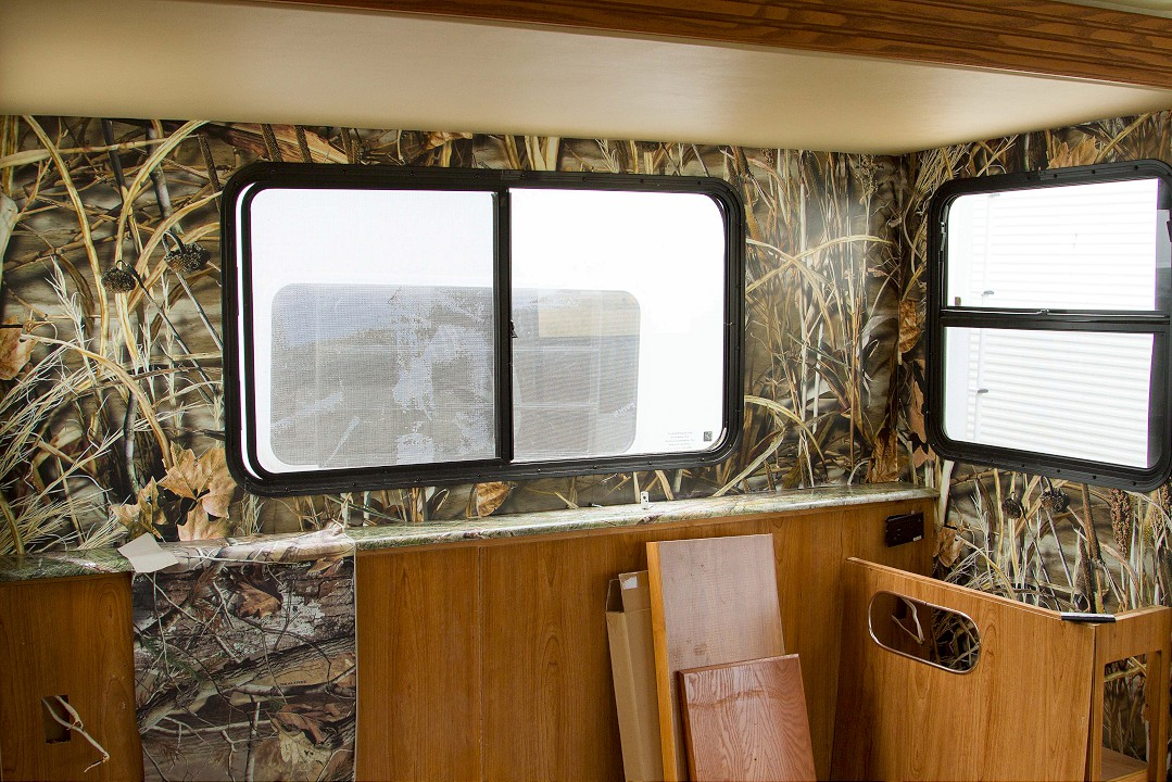 RV Wall Covering with Camouflage Design